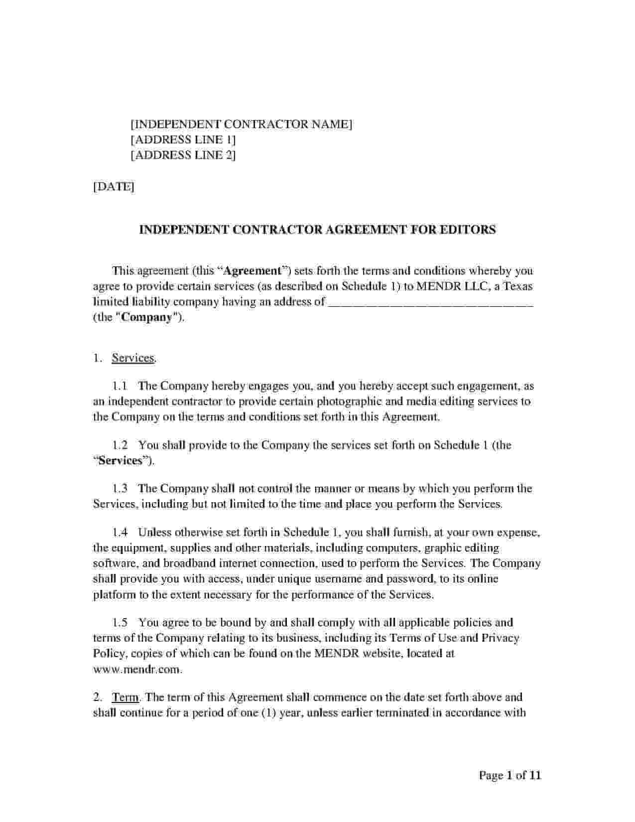 Freelance Editing Contract Template Sample