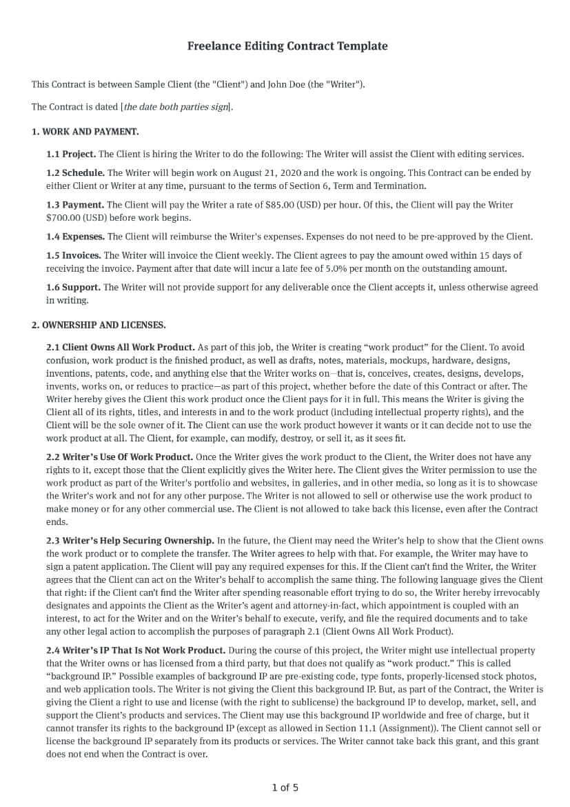 Freelance Editing Contract Template