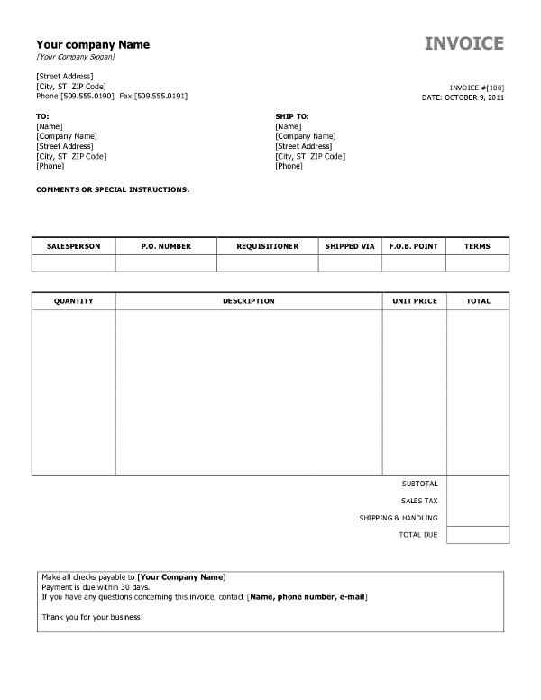 Simple Invoice Template Sample
