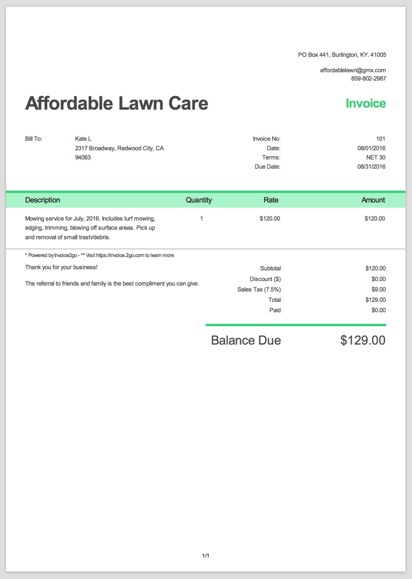 Simple Invoice Template Sample PDF