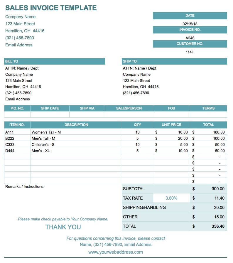 Simple Invoice Template Example PDF