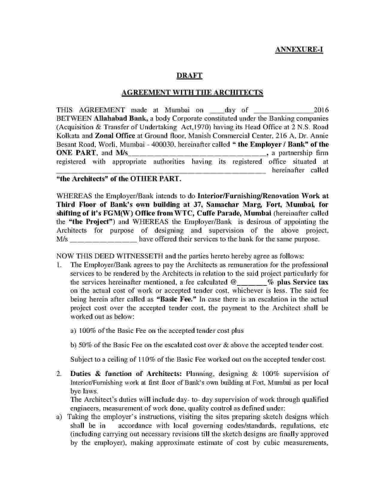 Architect Contract Template PDF