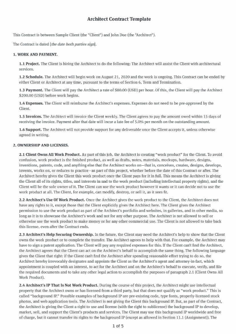 Architect Contract Template