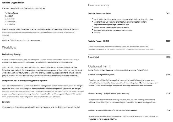 Wordpress Website Proposal Template Sample
