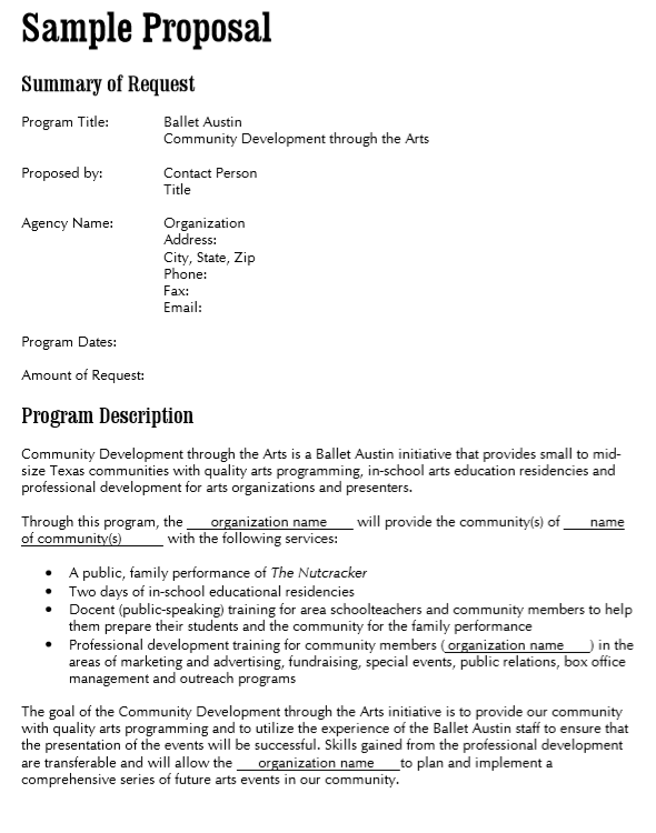 Artist Proposal Template Example
