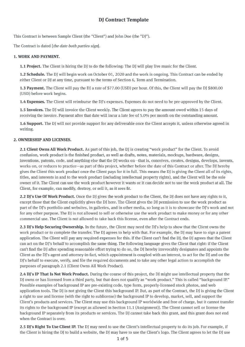 DJ Contract Template