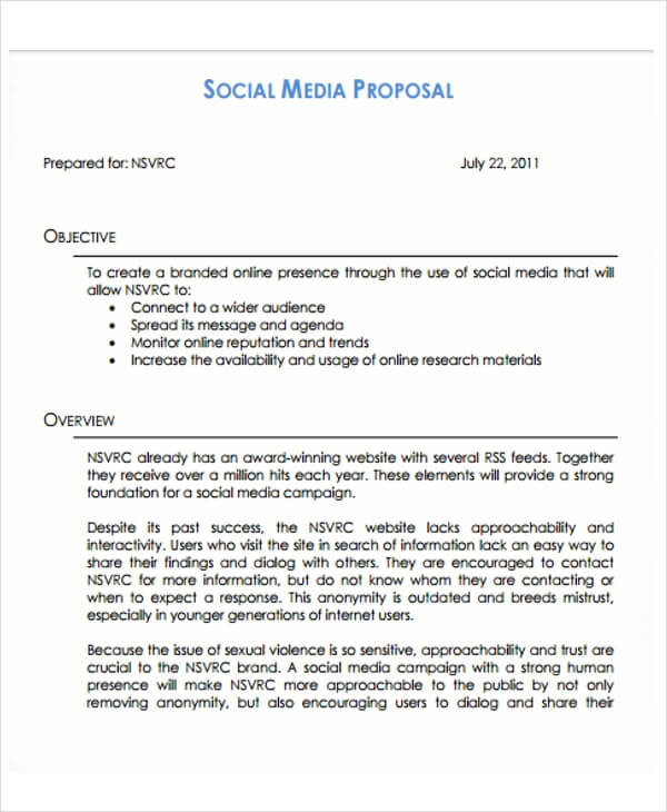 Social Media Proposal Template PPT