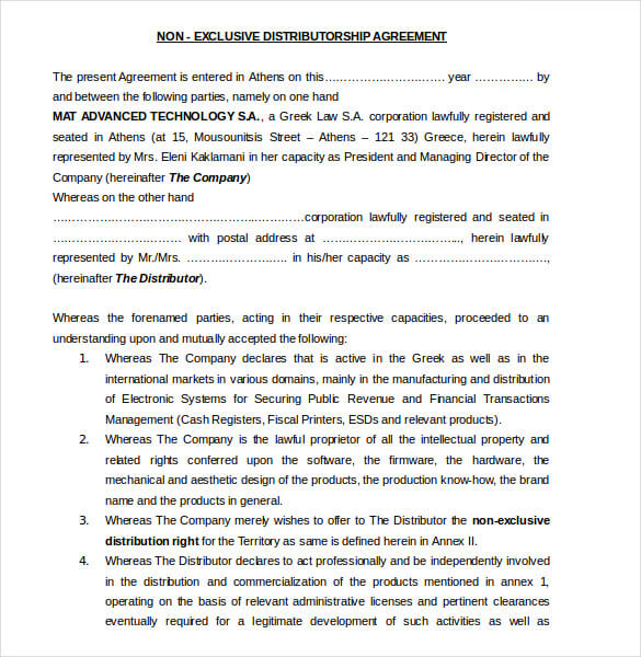 Distributor Agreement Template Sample