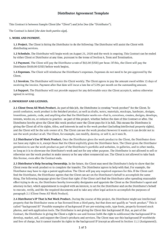 Distributor Agreement Template