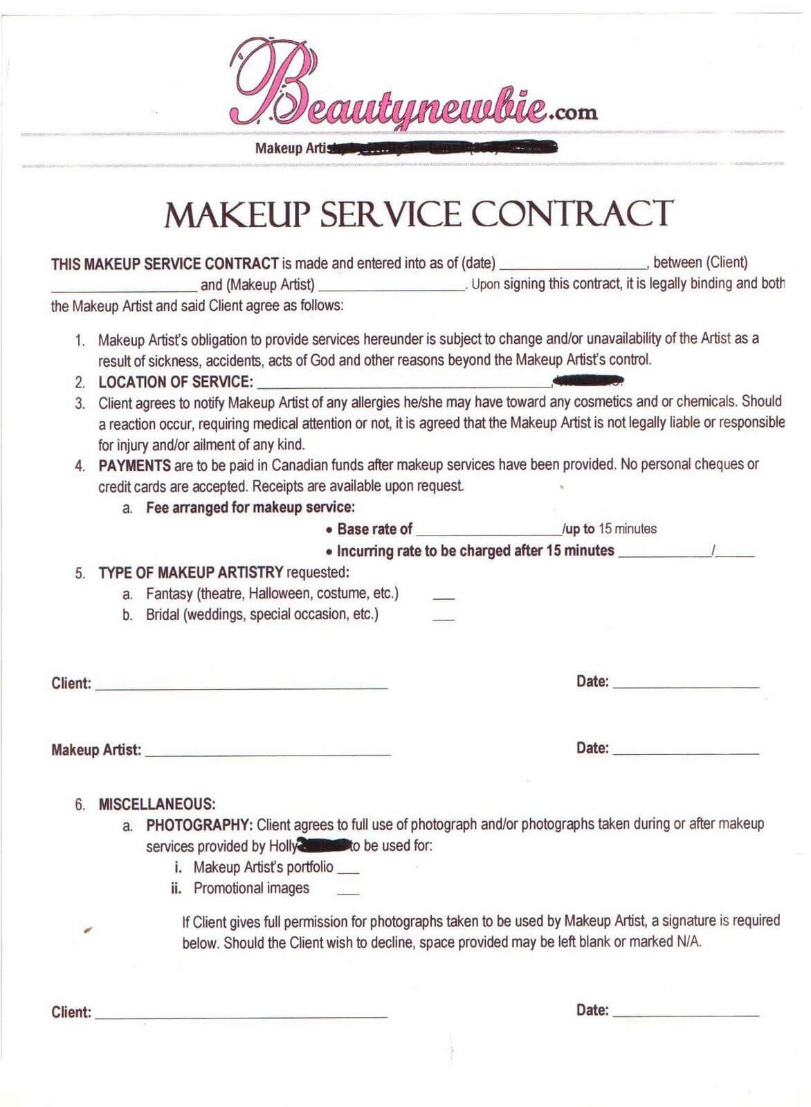 Wedding Makeup Contract Template