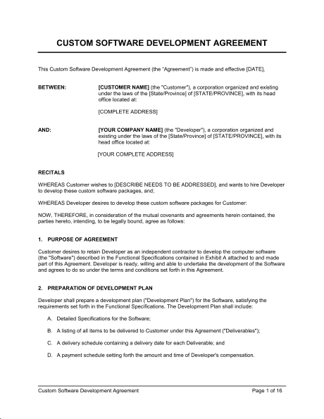 Development Contract Template Example PDF