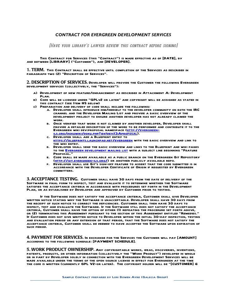 Development Contract Template Example