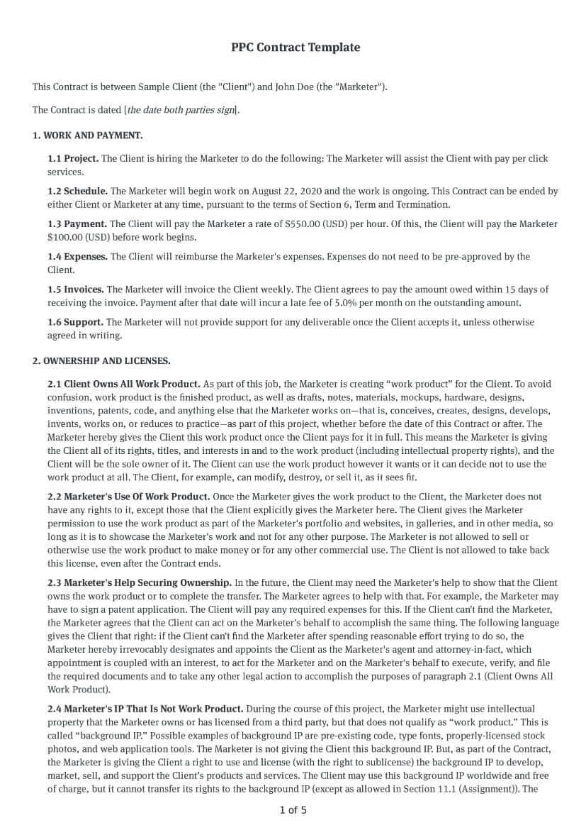 PPC Contract Template