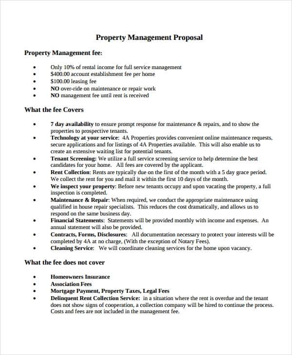 Property Management Proposal Template Sample