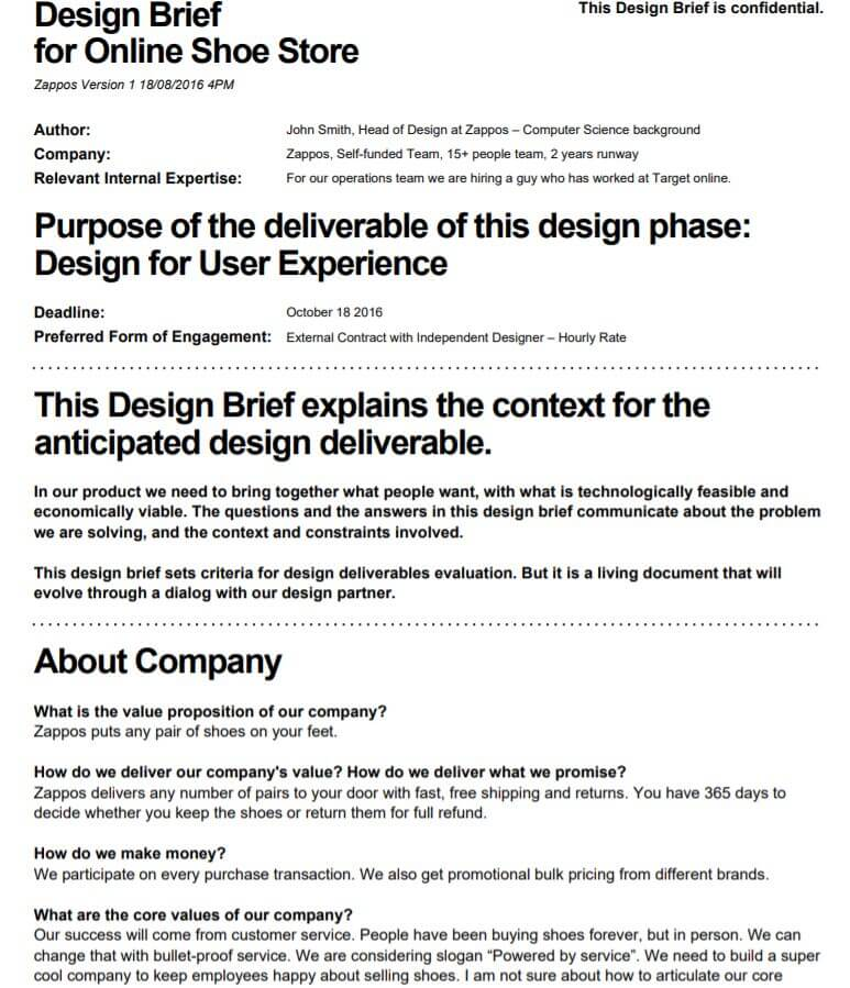 Product Brief Template Sample PDF