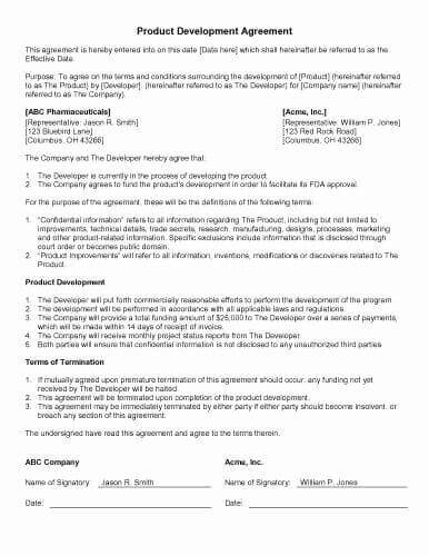 Product Design Contract Template Sample