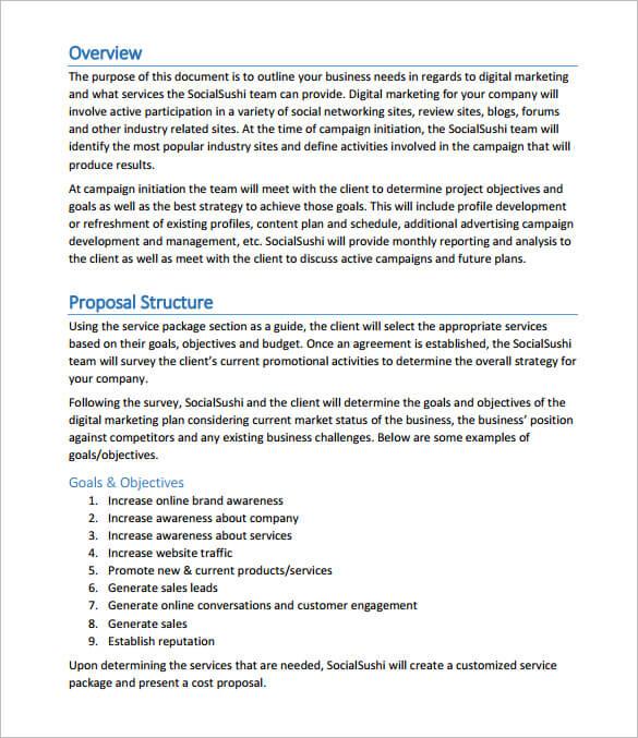 Digital Marketing Agency Proposal Template Sample