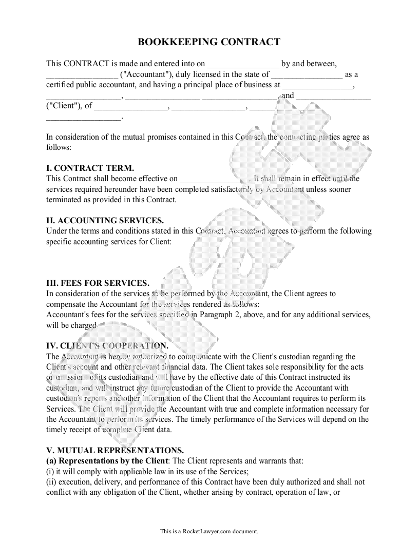 Bookkeeping Service Agreement Template PDF