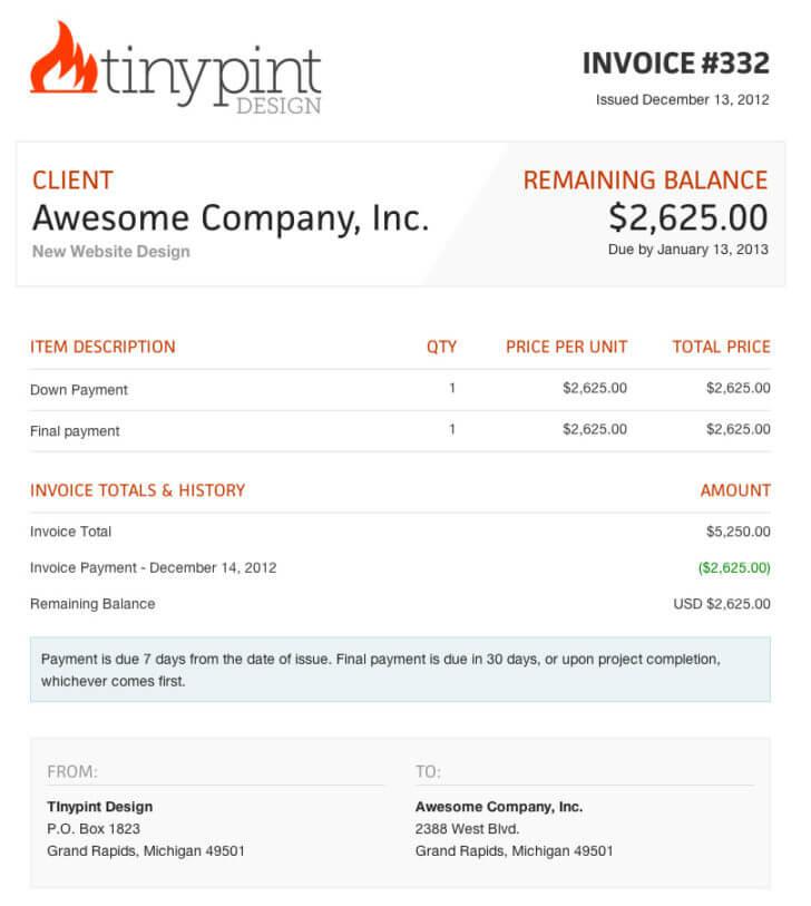 Web Design Invoice Template Sample