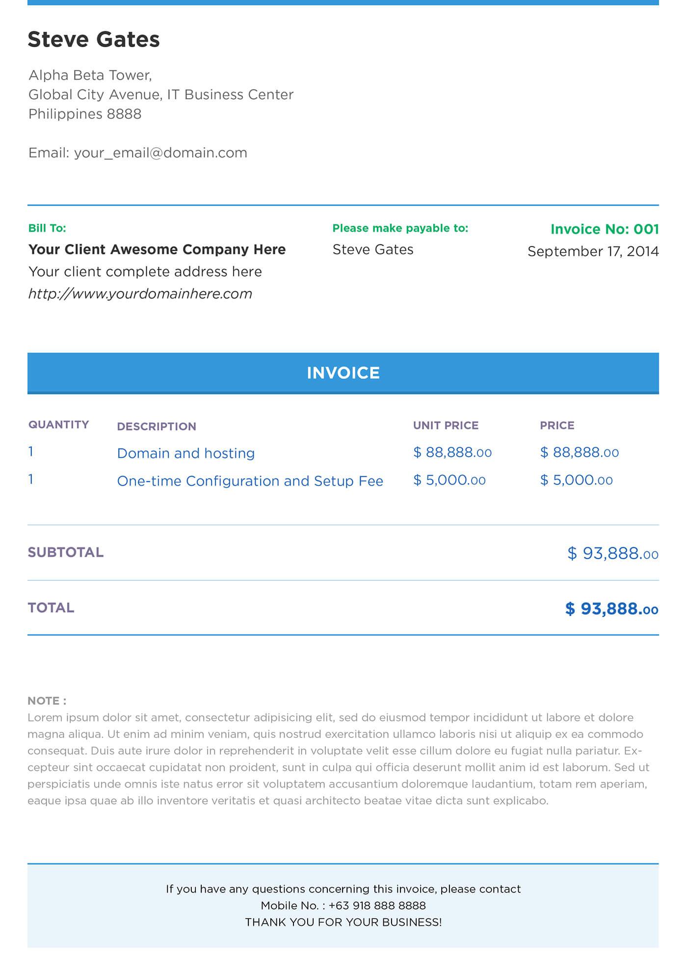 Web Design Invoice Template Sample PDF