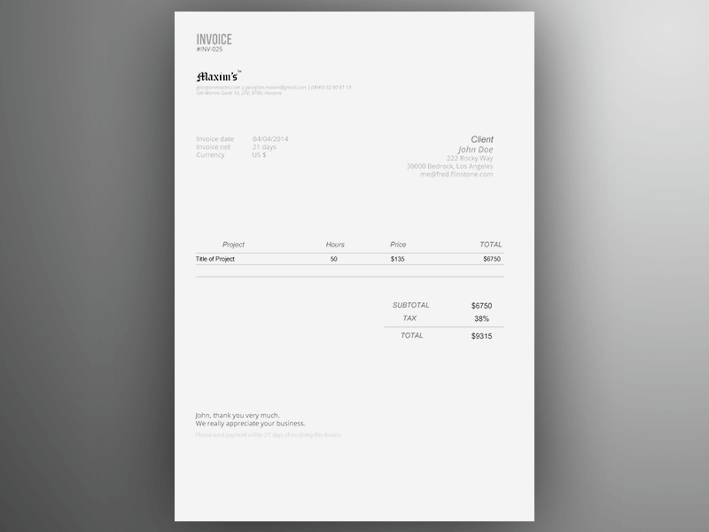 Web Design Invoice Template Example PDF