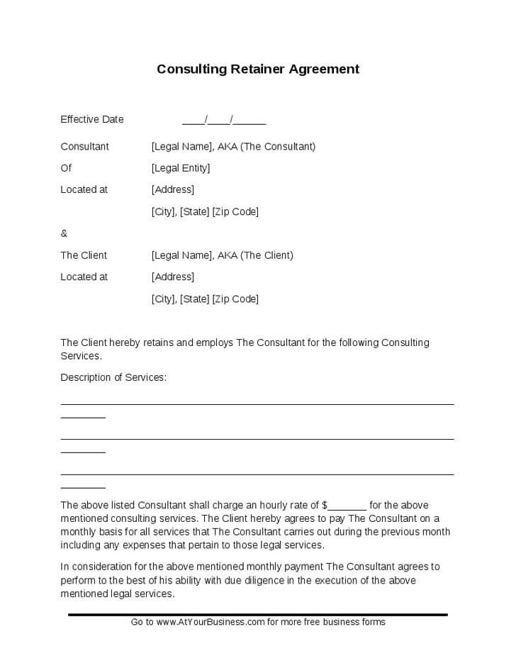 Consulting Retainer Agreement Template Sample