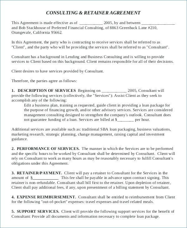 Consulting Retainer Agreement Template Example