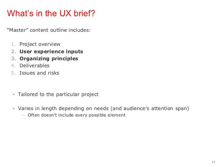 UX Brief Template Sample
