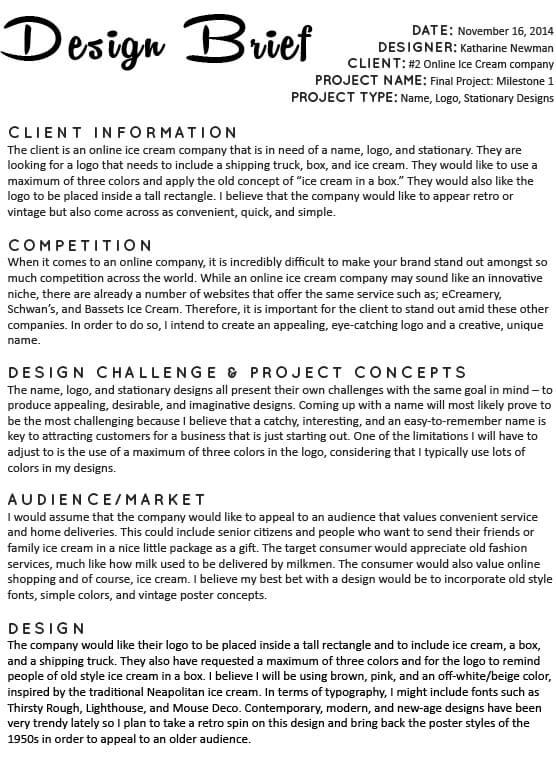 Fashion Design Brief Template Sample