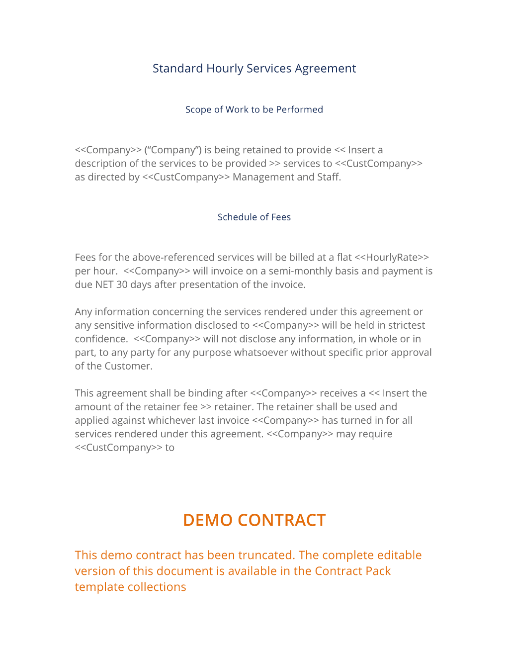 Hourly Rate Contract Template