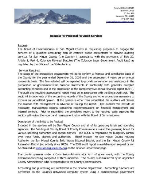 Audit Proposal Template Sample
