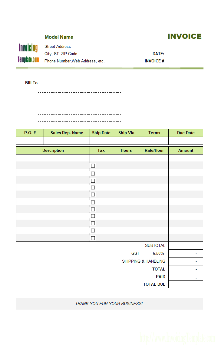 Modelling Invoice Template