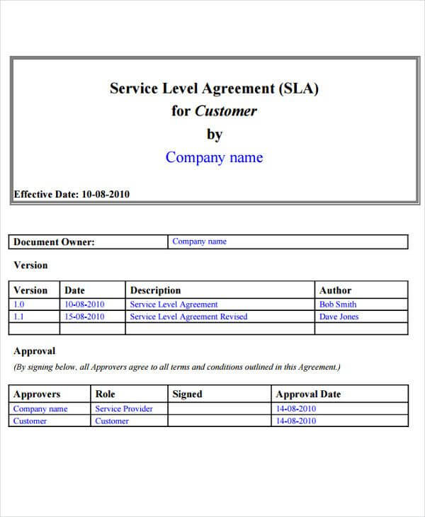 Service Level Agreement Template Doc