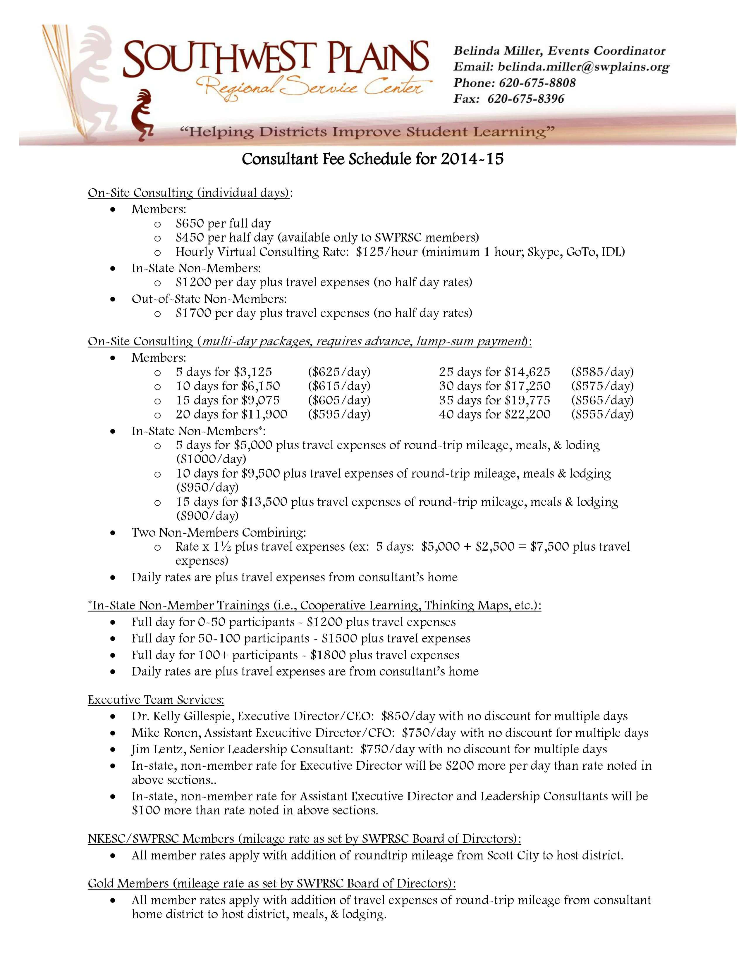 Consultant Fee Schedule Template