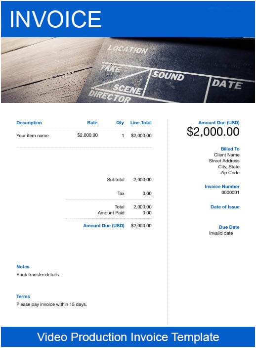 Videography Invoice Template Example