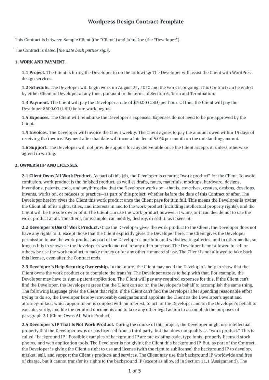 Wordpress Design Contract Template