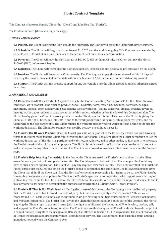 Florist Contract Template