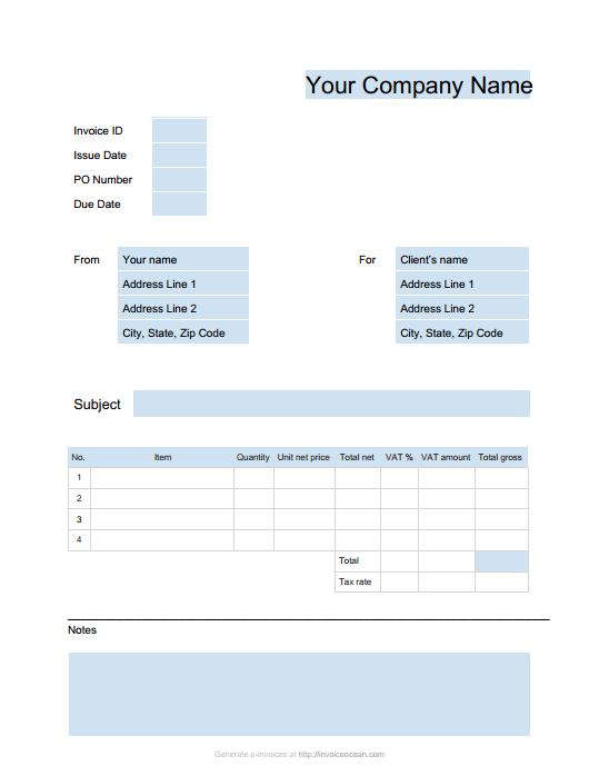 Virtual Invoice Template Sample