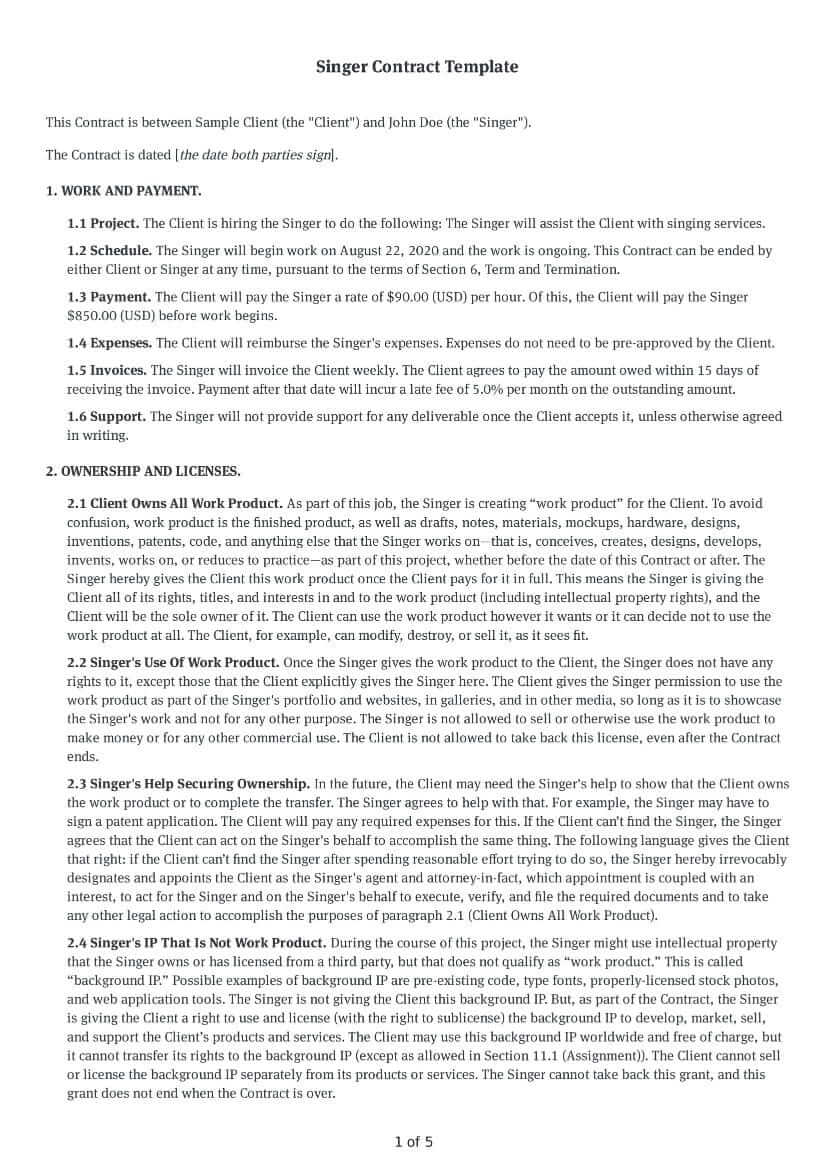Singer Contract Template
