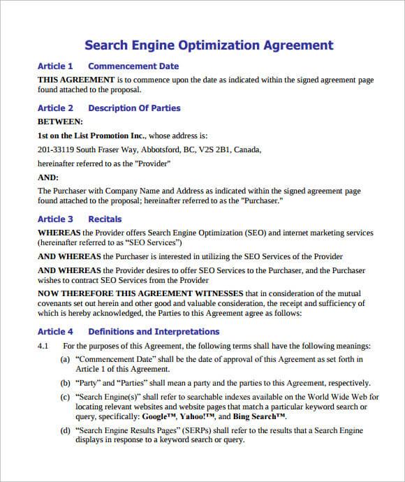 SEO Contract Template PDF