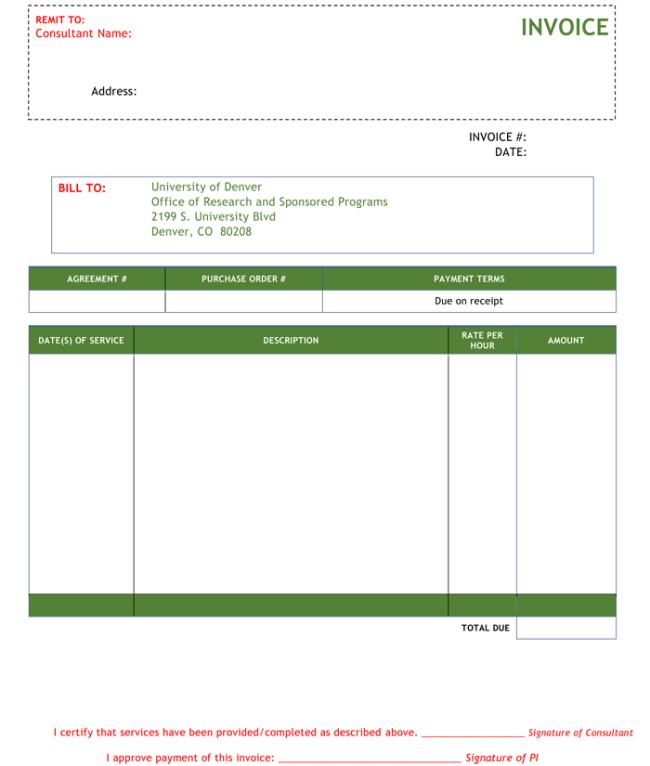 Consultant Invoice Template Sample