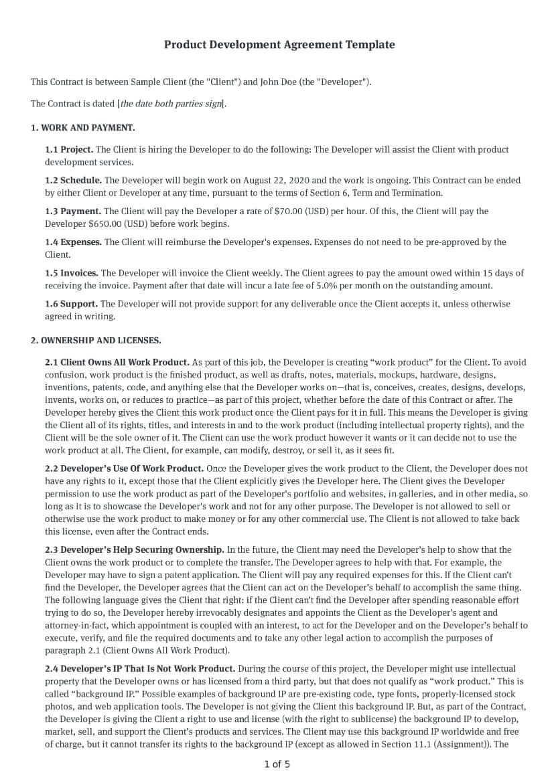 Product Development Agreement Template