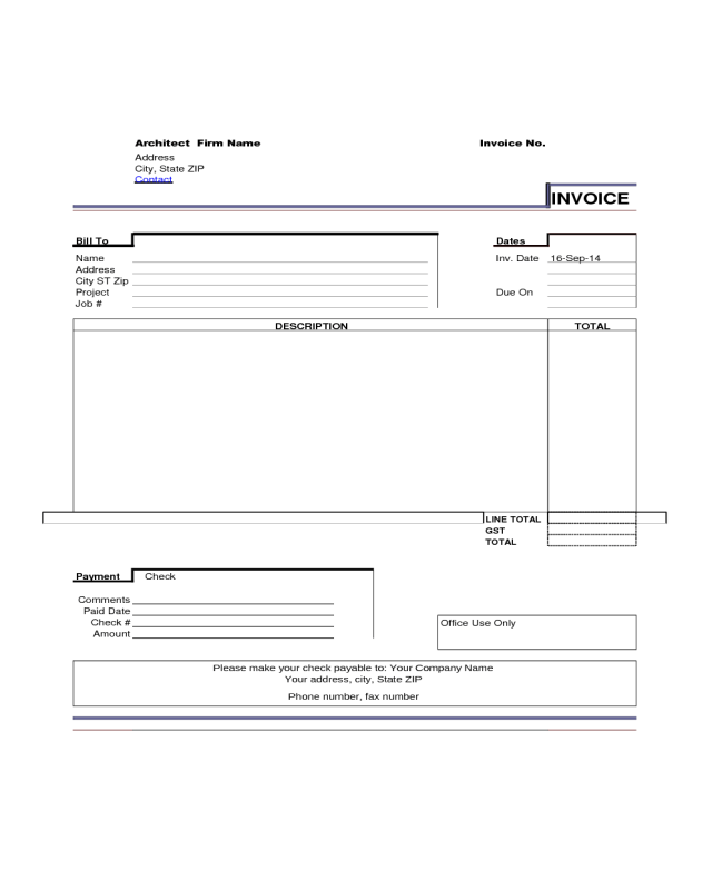 Architect Invoice Template Sample