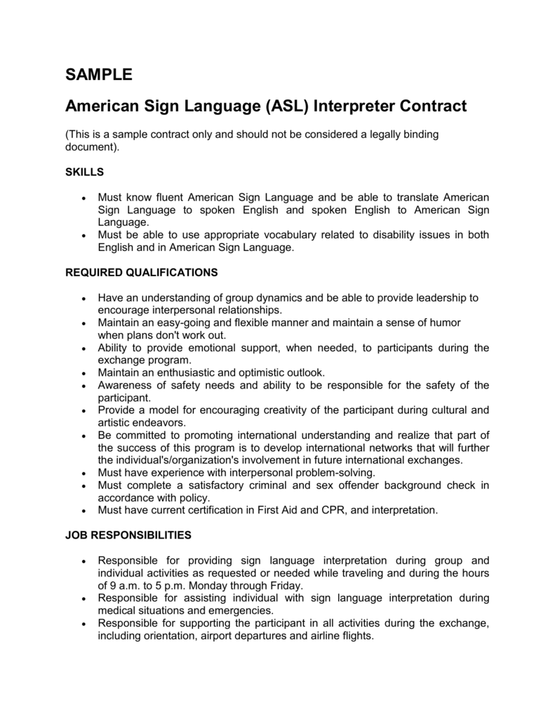 Interpreter Contract Template
