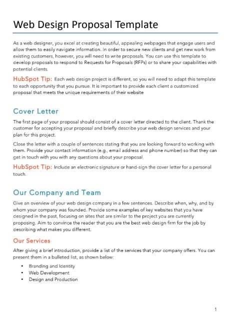 Website Design Proposal Template Sample