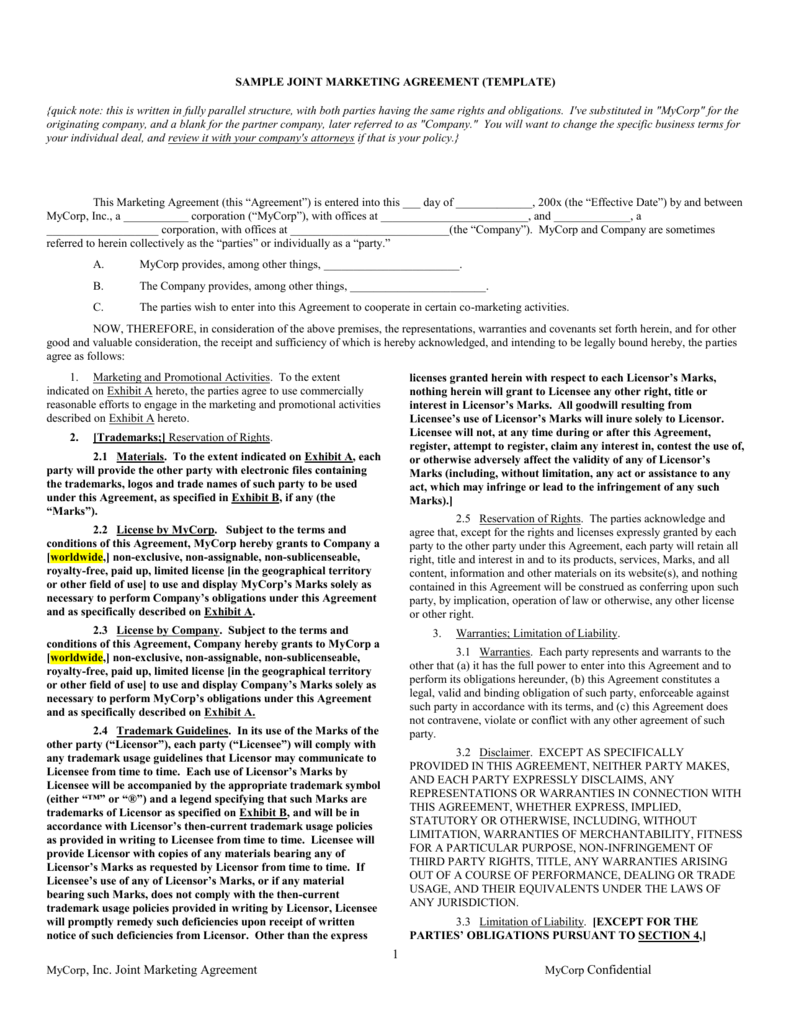 Co Marketing Agreement Template Sample