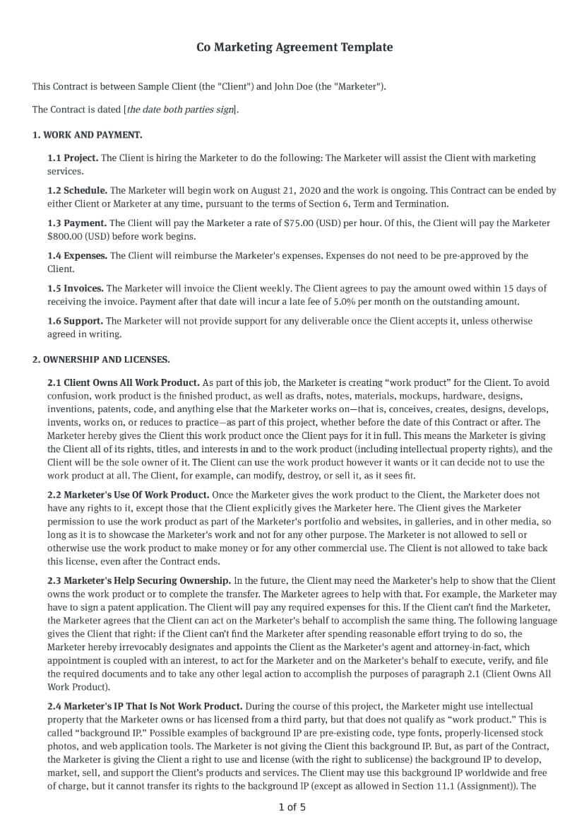 Co Marketing Agreement Template