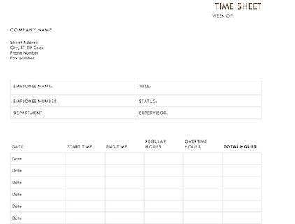 Timesheet Template PDF Example