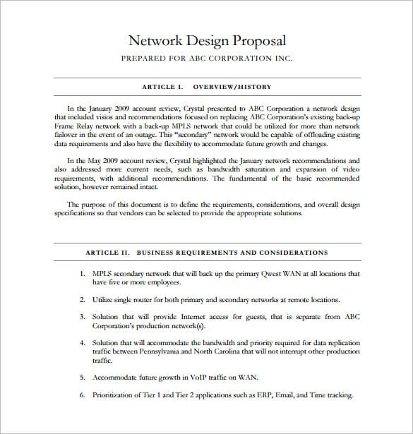 Network Design Proposal Template