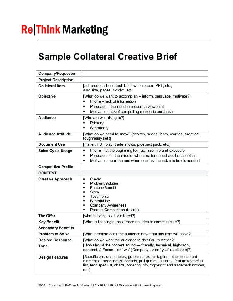 Graphic Design Creative Brief Template Sample